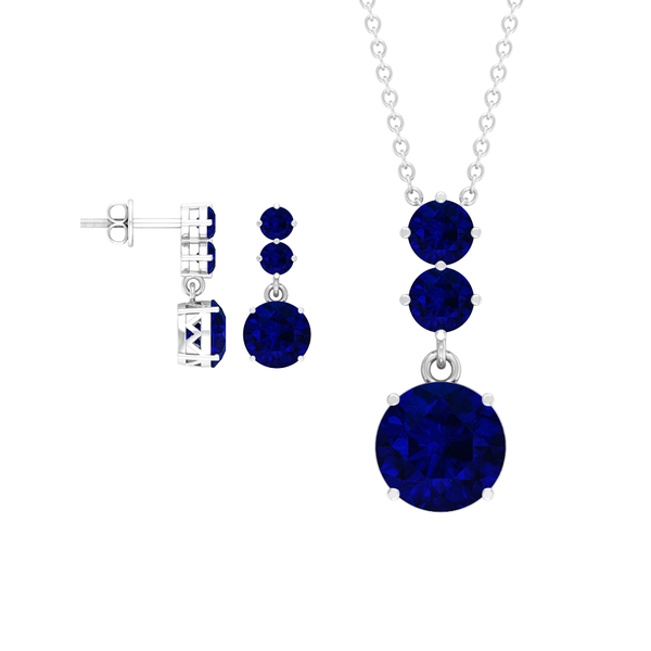 5.50 CT Lab Created Blue Sapphire 3 Stone Drop Pendant and Earrings Set