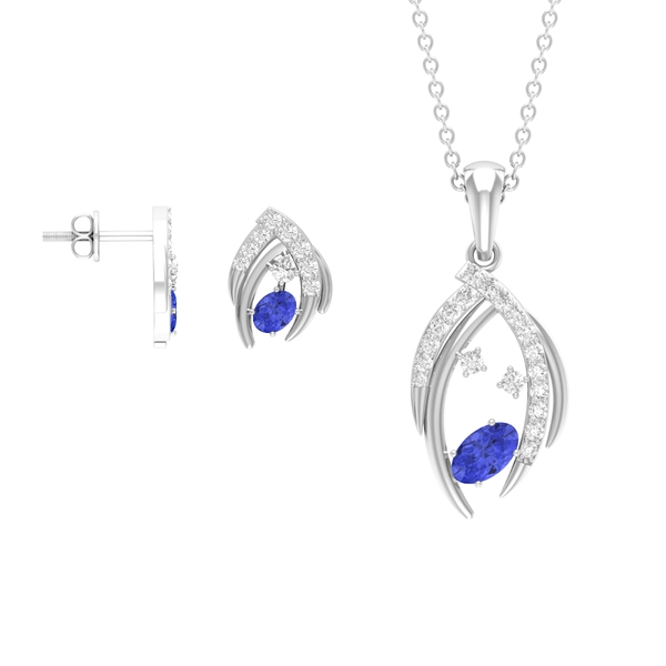 1.25 CT Oval Cut Tanzanite Solitaire Jewelry Set with Diamond