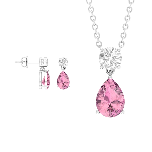 2 CT Pear Cut Pink Tourmaline Solitaire Jewelry Set with Moissanite