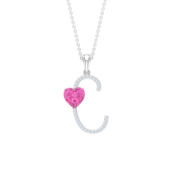 1.50 CT Moissanite Initial C Pendant with Herat Shape Created Pink Sapphire