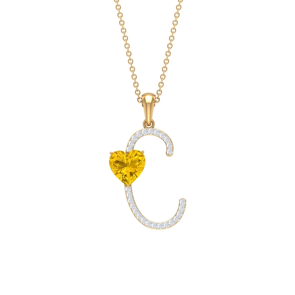 1.75 CT Moissanite Initial C Pendant with Heart Shape Created Yellow Sapphire