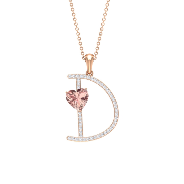 2 CT Moissanite Initial D Pendant Necklace with Heart Shape Created Morganite
