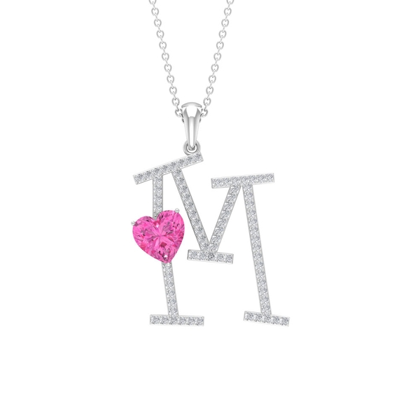 1.75 CT Moissanite Initial M Pendant with Heart Shape Created Pink Sapphire