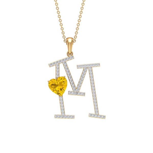 2 CT Moissanite Initial M Pendant Necklace with Heart Shape Created Yellow Sapphire
