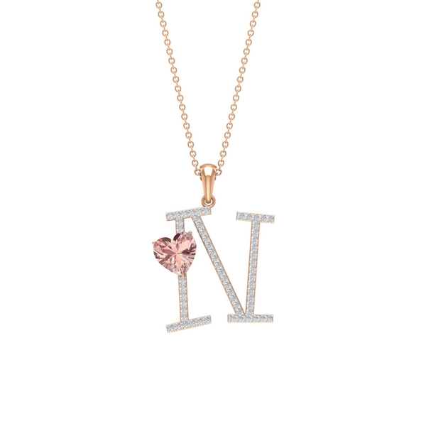2 CT Moissanite Initial N Pendant with Heart Shape Created Morganite