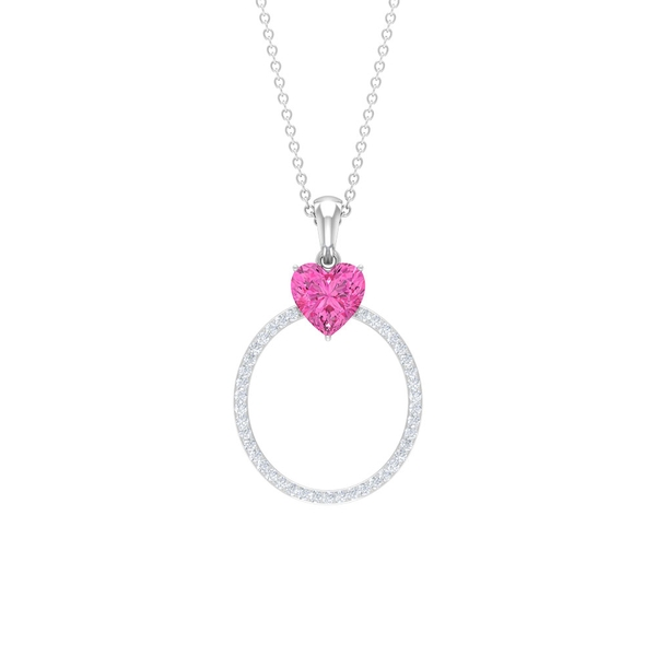1.50 CT Moissanite Initial O Pendant with Created Pink Sapphire