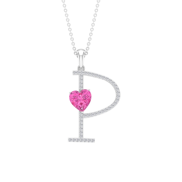 1.50 CT Moissanite Initial P Pendant with Heart Shape Created Pink Sapphire
