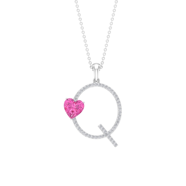 1.50 CT Heart Shape Created Pink Sapphire Initial Q Pendant with Moissanite