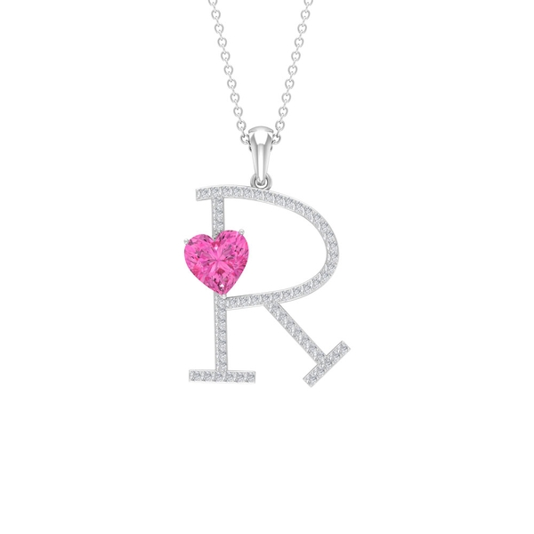 1.75 CT Initial R Pendant with Heart Shape Created Pink Sapphire and Moissanite