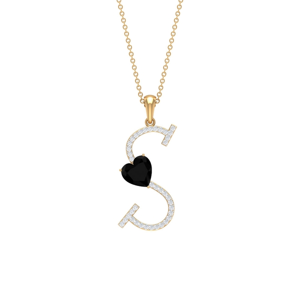 3.75 CT Heart Shape Created Black Diamond Initial S Pendant Necklace with Moissanite