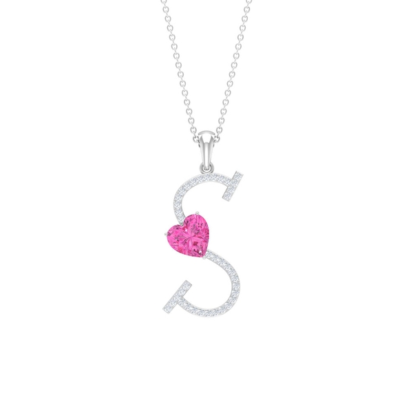 2.75 CT Moissanite Initial S Pendant with Heart Shape Created Pink Sapphire