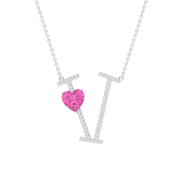 1.50 CT Heart Shape Created Pink Sapphire and Moissanite Initial V Pendant