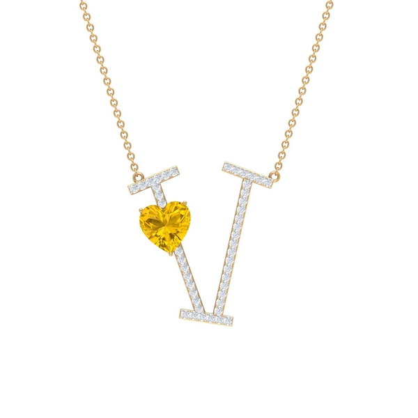 1.75 CT Heart Shape Created Yellow Sapphire and Moissanite Initial V Pendant