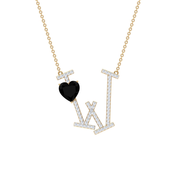 2.25 CT Initial W Pendant Necklace with Heart Shape Created Black Diamond and Moissanite