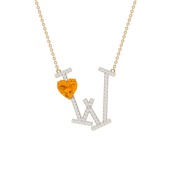 2 CT Initial W Pendant Necklace with Heart Shape Created Orange Sapphire and Moissanite