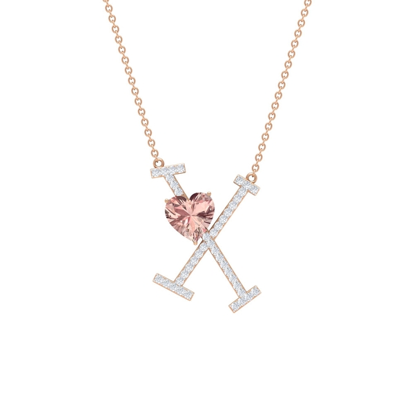 1.75 CT Heart Shape Created Morganite Initial X Pendant Necklace with Moissanite