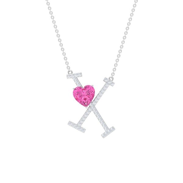 1.50 CT Moissanite Initial X Pendant with Heart Shape Created Pink Sapphire