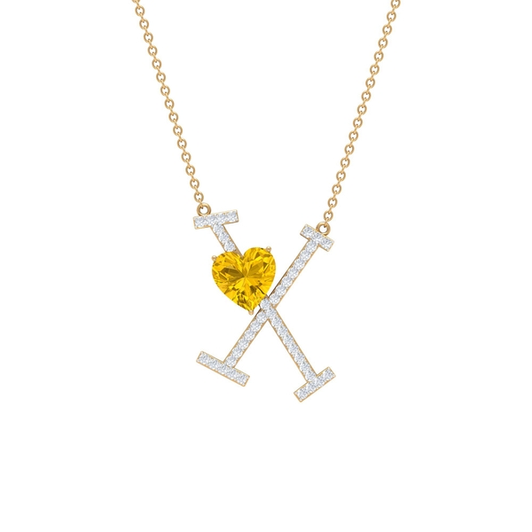 1.75 CT Initial X Pendant Necklace with Heart Shape Created Yellow Sapphire with Moissanite
