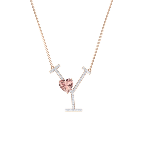 1.75 CT Heart Shape Created Morganite and Moissanite Initial Y Pendant Necklace