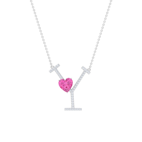 1.50 CT Moissanite Initial Y Pendant with Heart Shape Created Pink Sapphire
