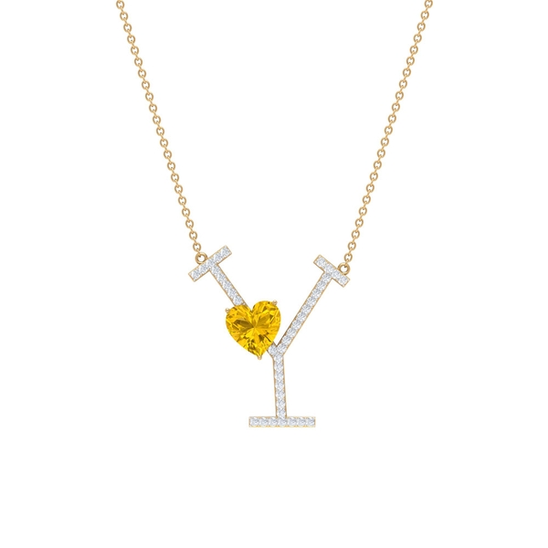 1.75 CT Heart Shape Created Yellow Sapphire and Moissanite Initial Y Pendant Necklace