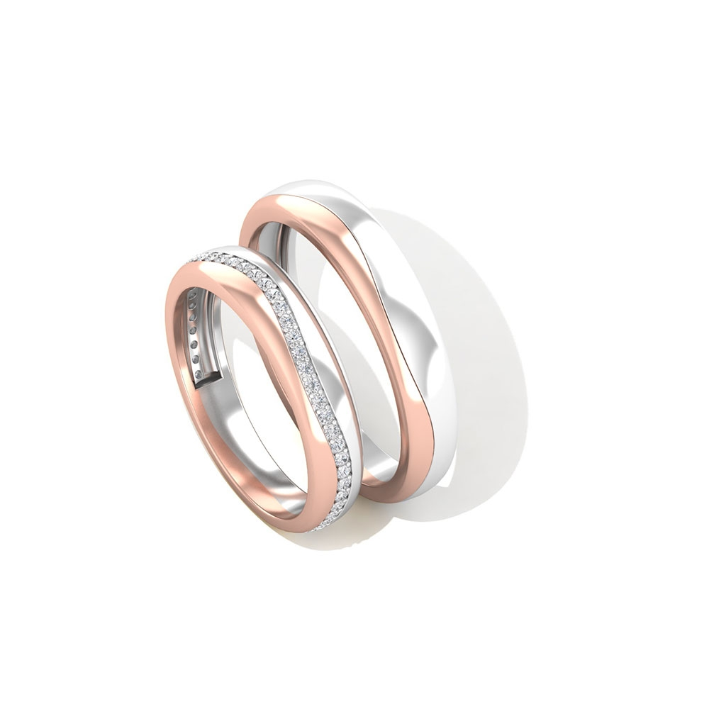 1/4 CT Two Tone Diamond Couples Promise Bands Set