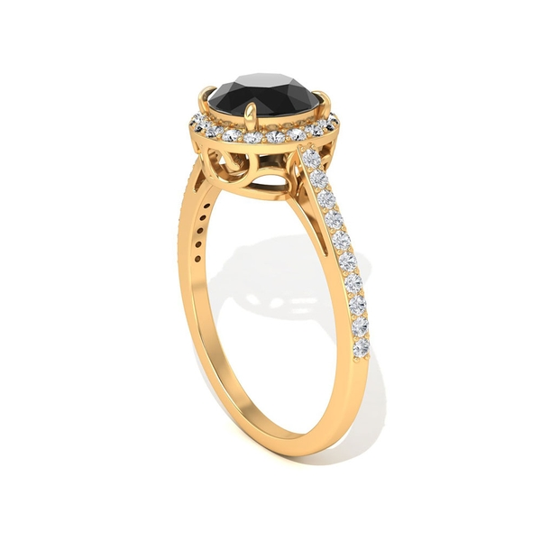 1.75 CT Solitaire Black Diamond Engagement Ring with Halo Design
