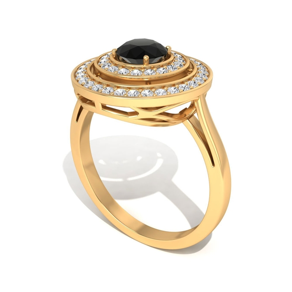 1 CT Black Diamond Solitaire Engagement Ring with Halo Diamond