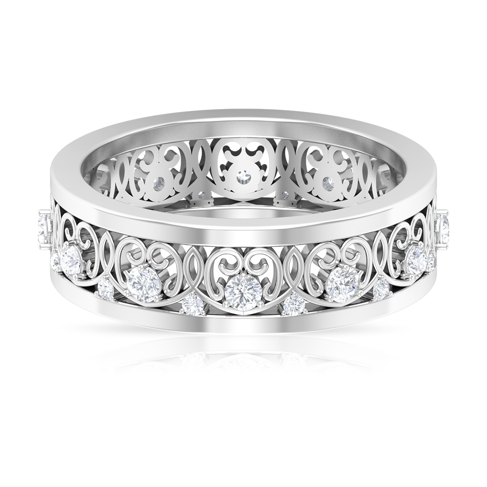 1/2 CT Diamond Band Ring in 3 Prong Setting with Filigree Details