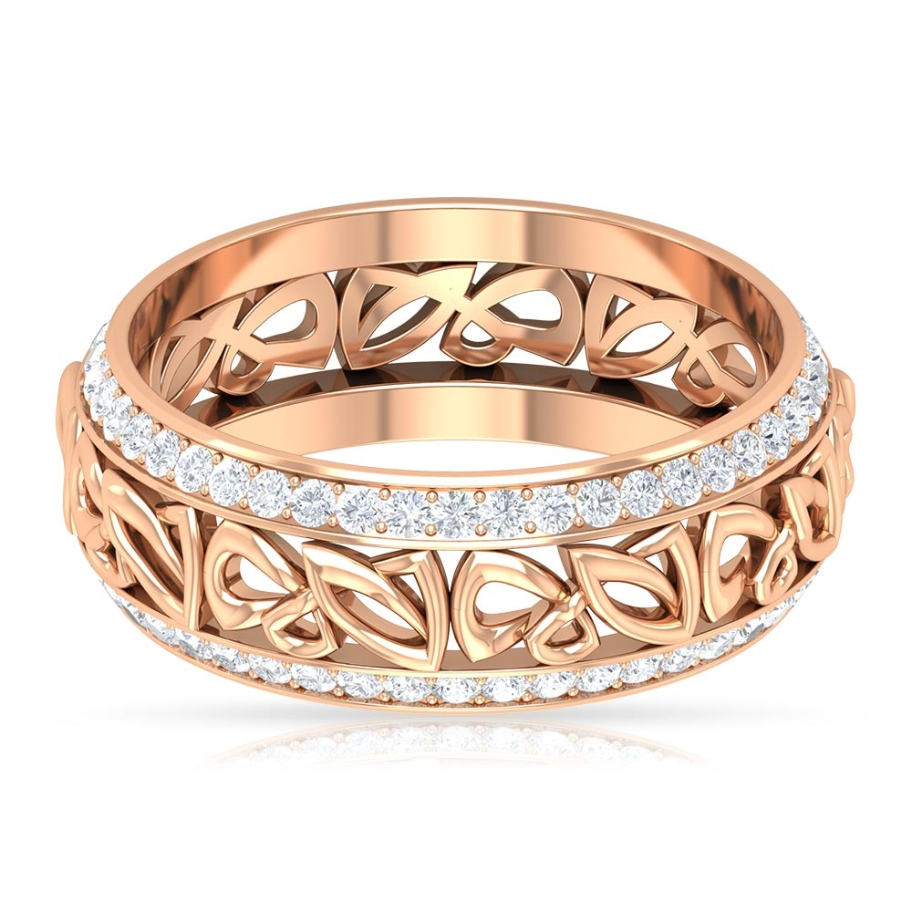 1 CT Diamond Antique Wedding Band Ring with Gold Cut Work