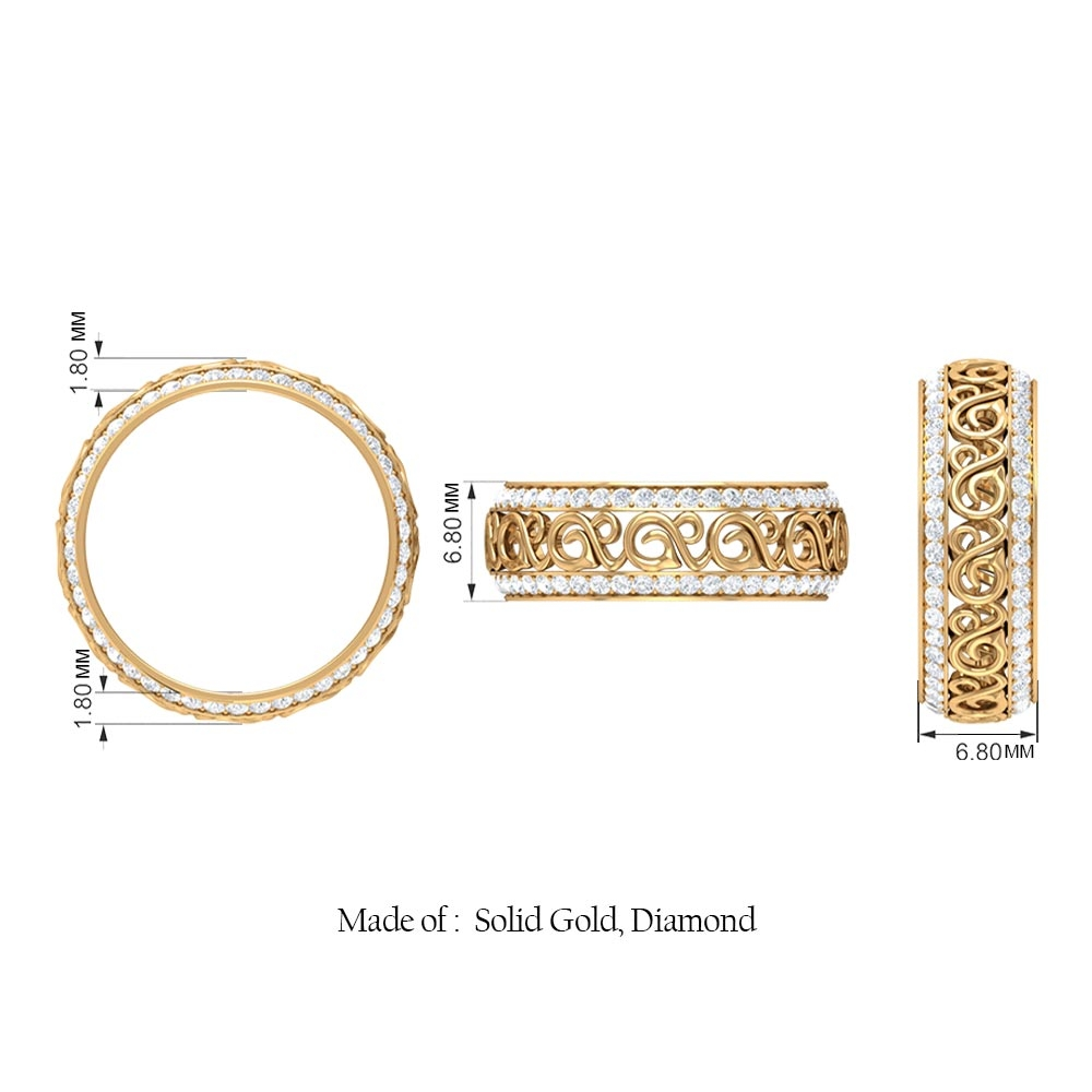 1 CT Diamond Vintage Wedding Band Ring with Gold Cut Work