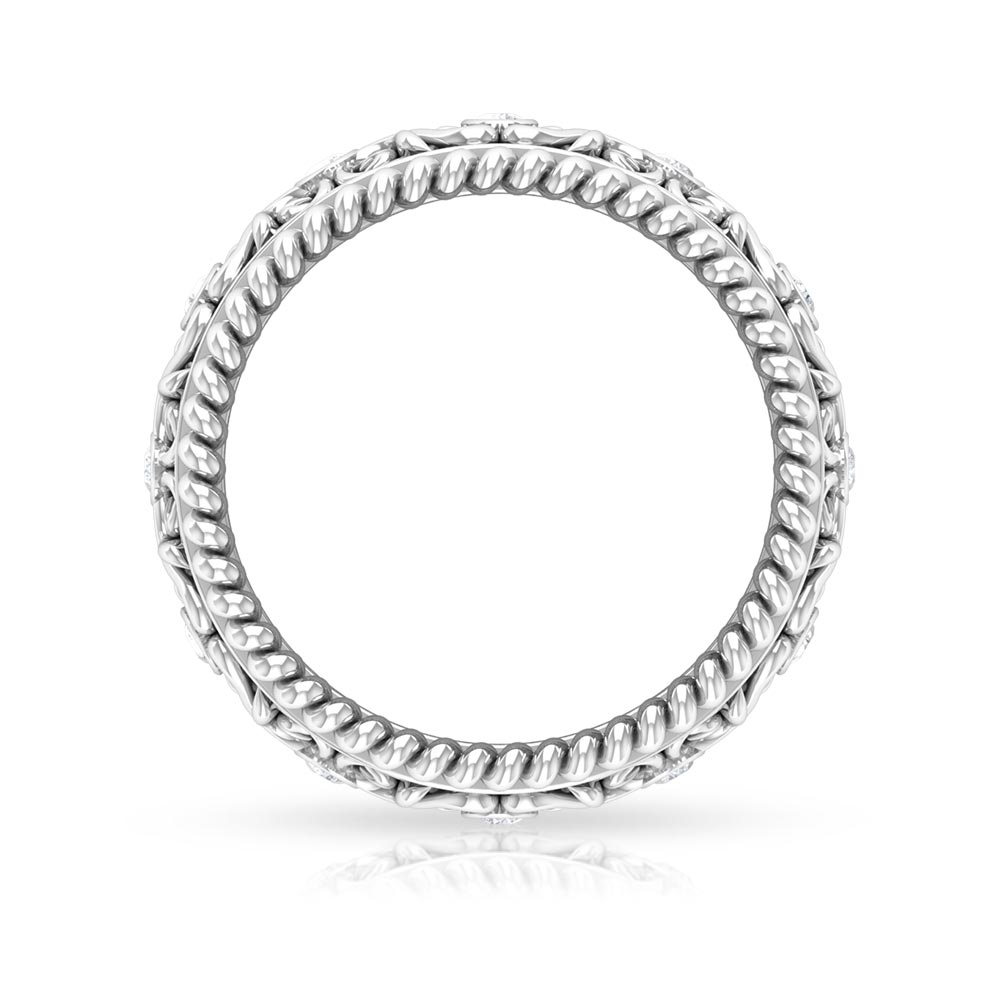 1/4 CT Diamond Antique Band Ring in Bezel Setting