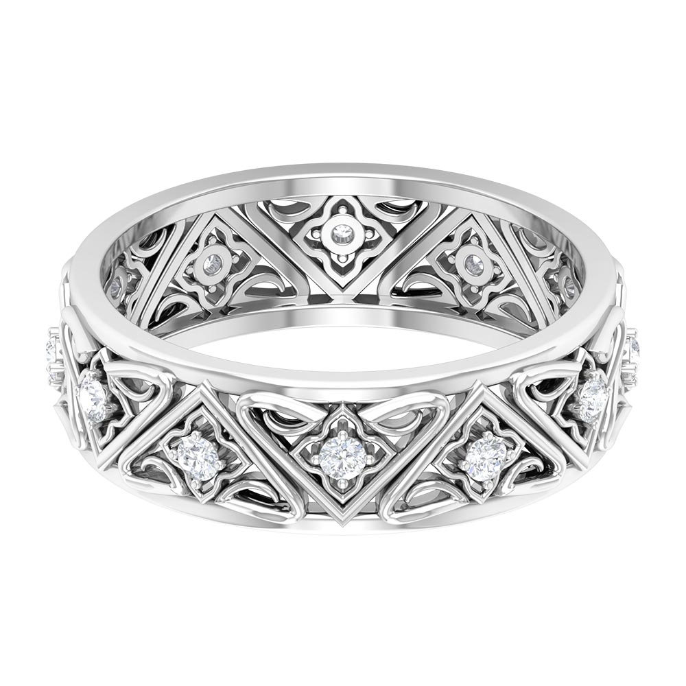 1/4 CT Diamond Vintage Band Ring in 4 Prong Setting