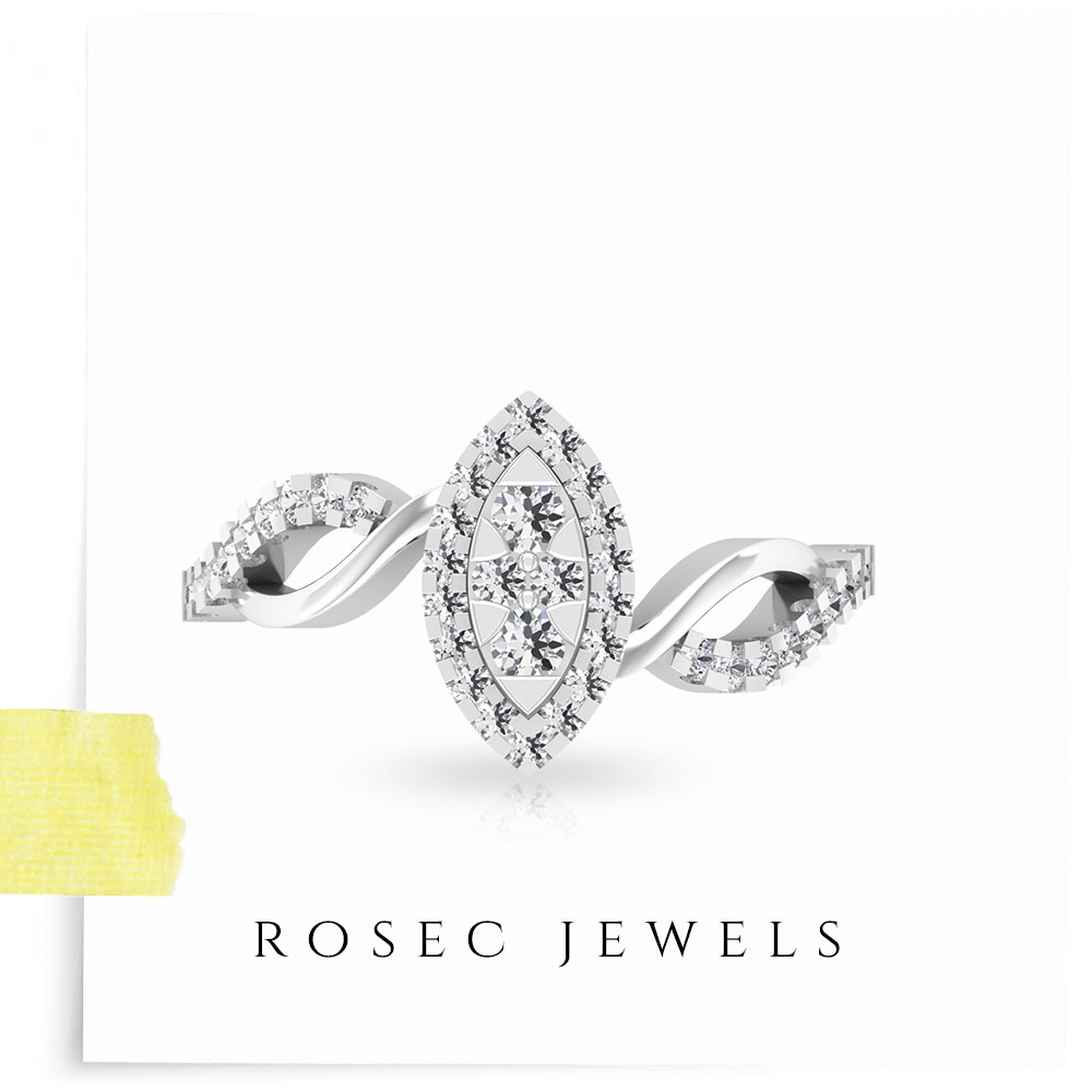 1/4 CT Marquise Shape Infinity Engagement Ring with Diamond