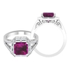 4.25 CT Rhodolite Solitaire and Moissanite Art Deco Engagement Ring