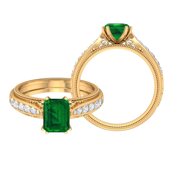2 CT Octagon Cut Emerald and Moissanite Antique Engagement Ring