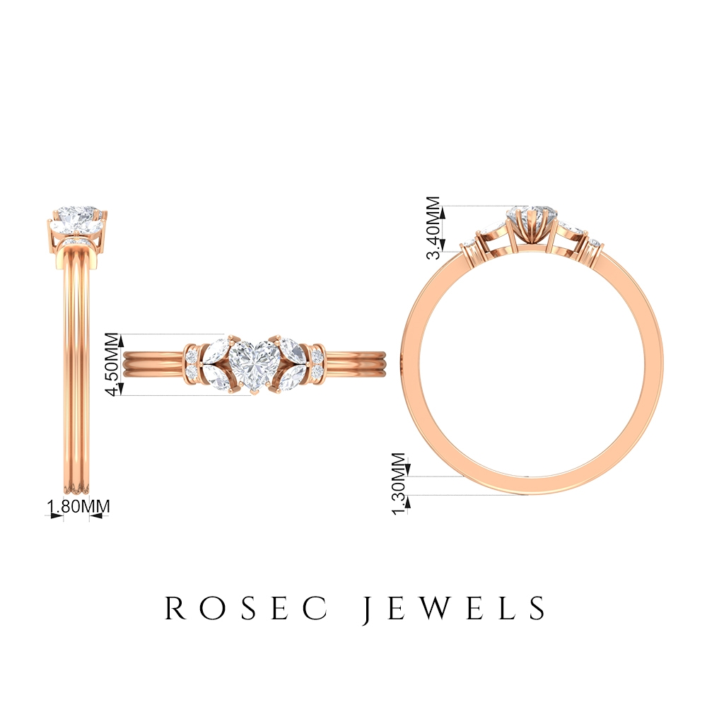 1/2 CT Promise Rings for Her with Diamond