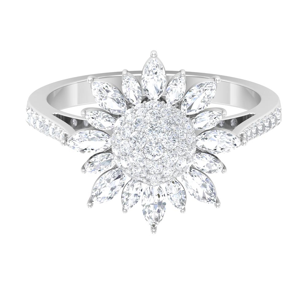 April Birthstone 1.25 CT Statement Floral Diamond Cluster Ring with Side Stones