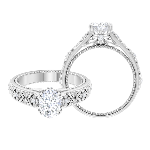1.50 CT Oval Cut Moissanite Solitaire Engraved Ring