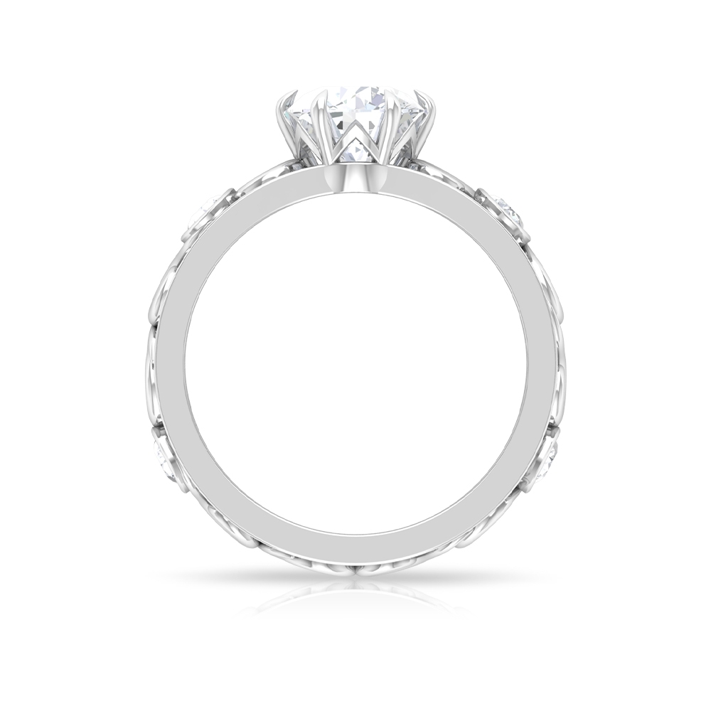 1.75 CT Round Shaped Moissanite Solitaire Ring with Side Stones