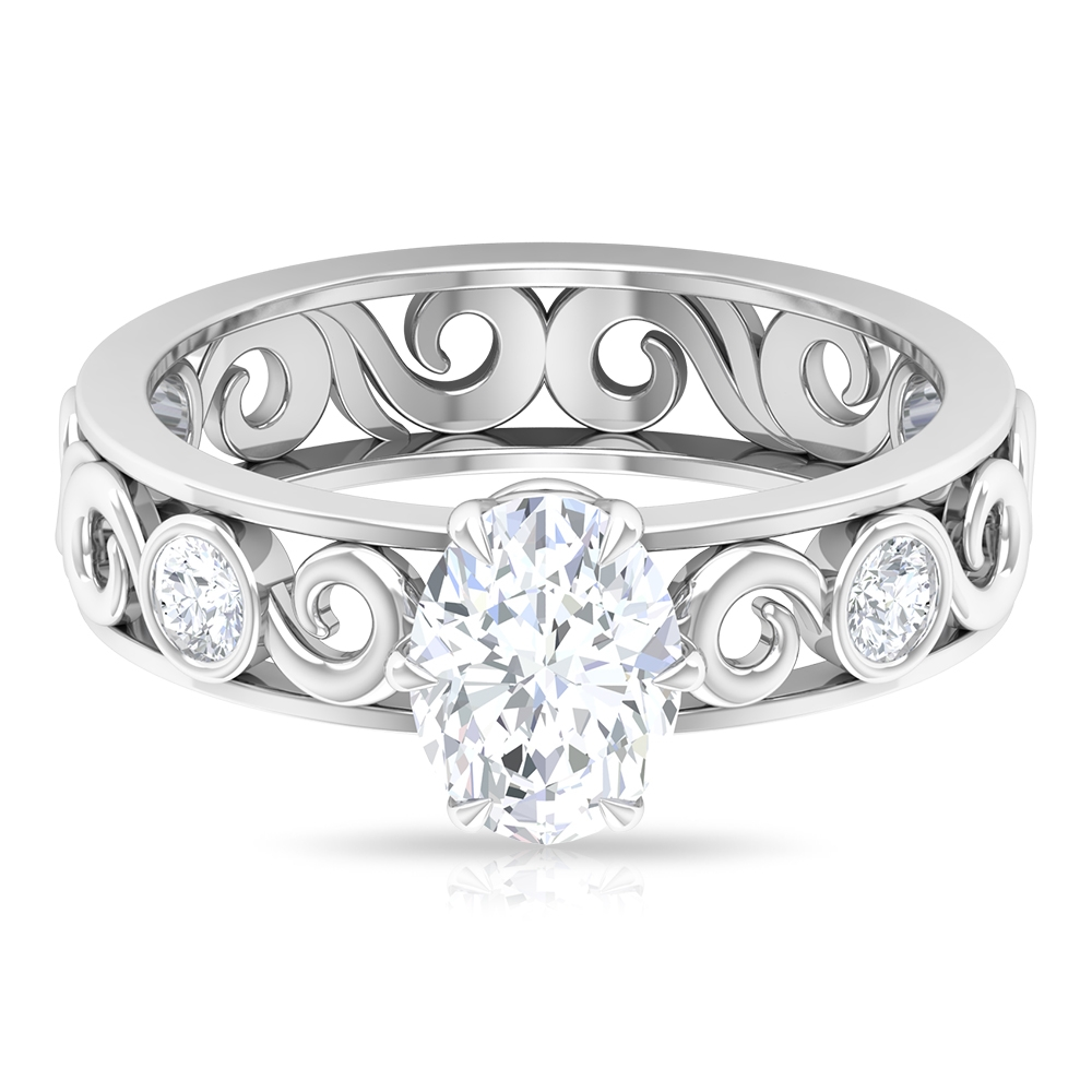 1.75 CT Oval Cut Moissanite Solitaire Ring with Side Stones