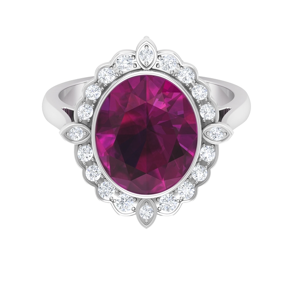 5 CT Oval Cut Rhodolite Cocktail Ring with Diamond Halo
