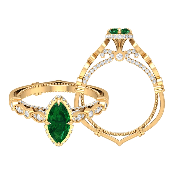 1.75 CT Created Emerald and Moissanite Vintage Engagement Ring