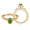 2 CT Created Peridot and Moissanite Vintage Engagement Ring