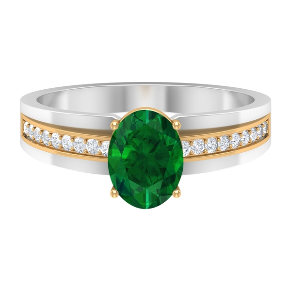 1.50 CT Emerald Solitaire Ring with Moissanite Side Stones