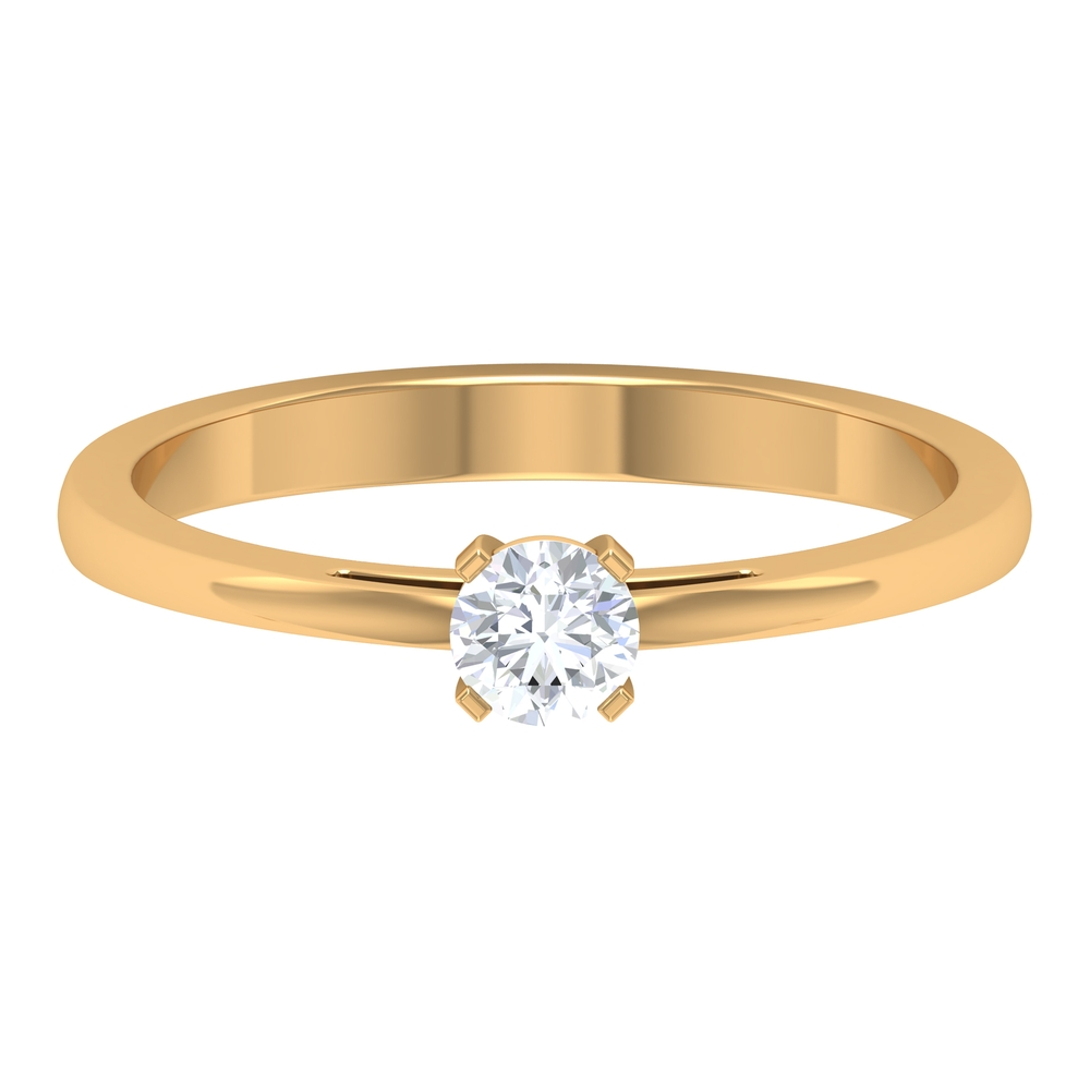 4 MM Round Cut Diamond Solitaire Ring in Peg Head Setting