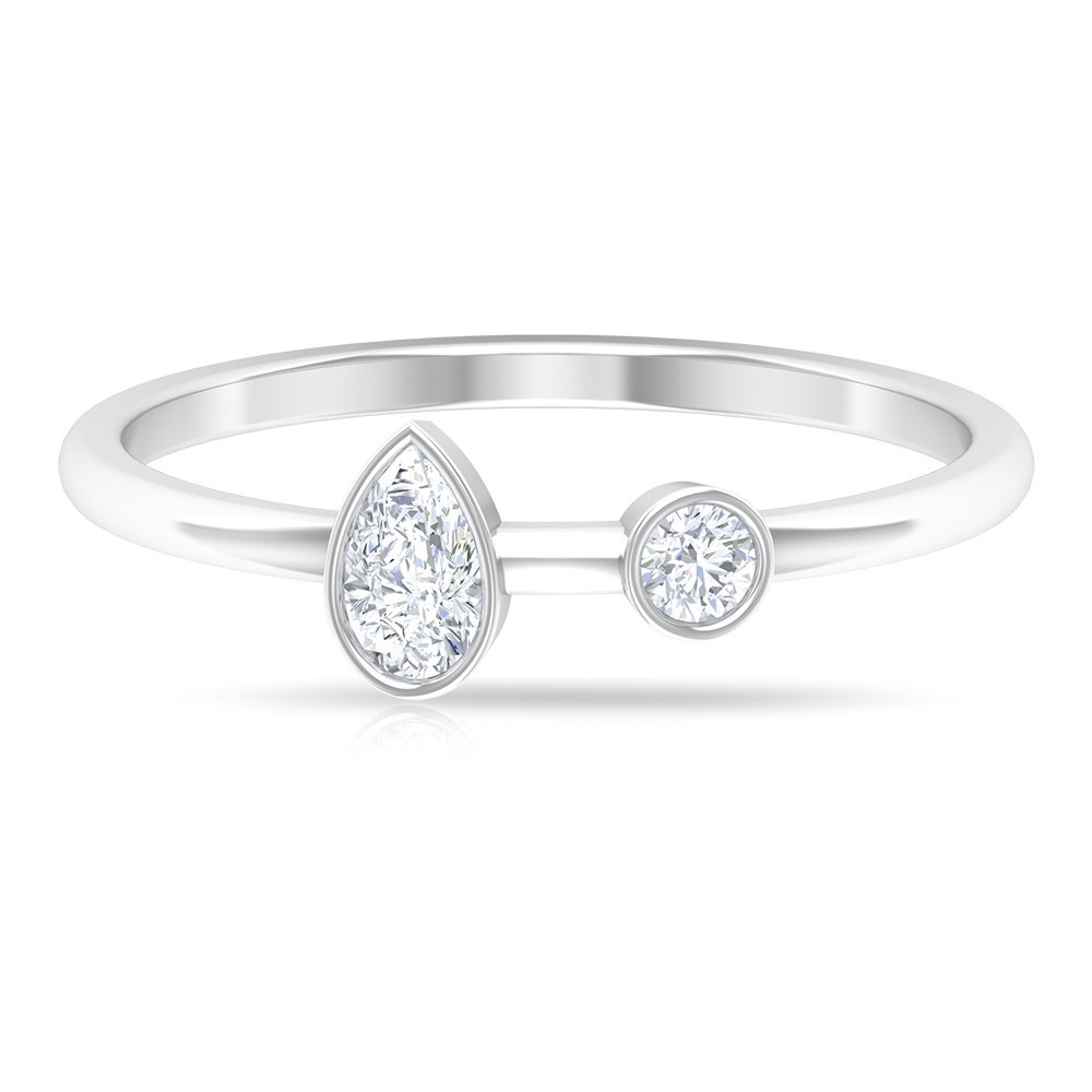 2.50 CT Pear and Round Cut Diamond Promise Ring in Bezel Setting