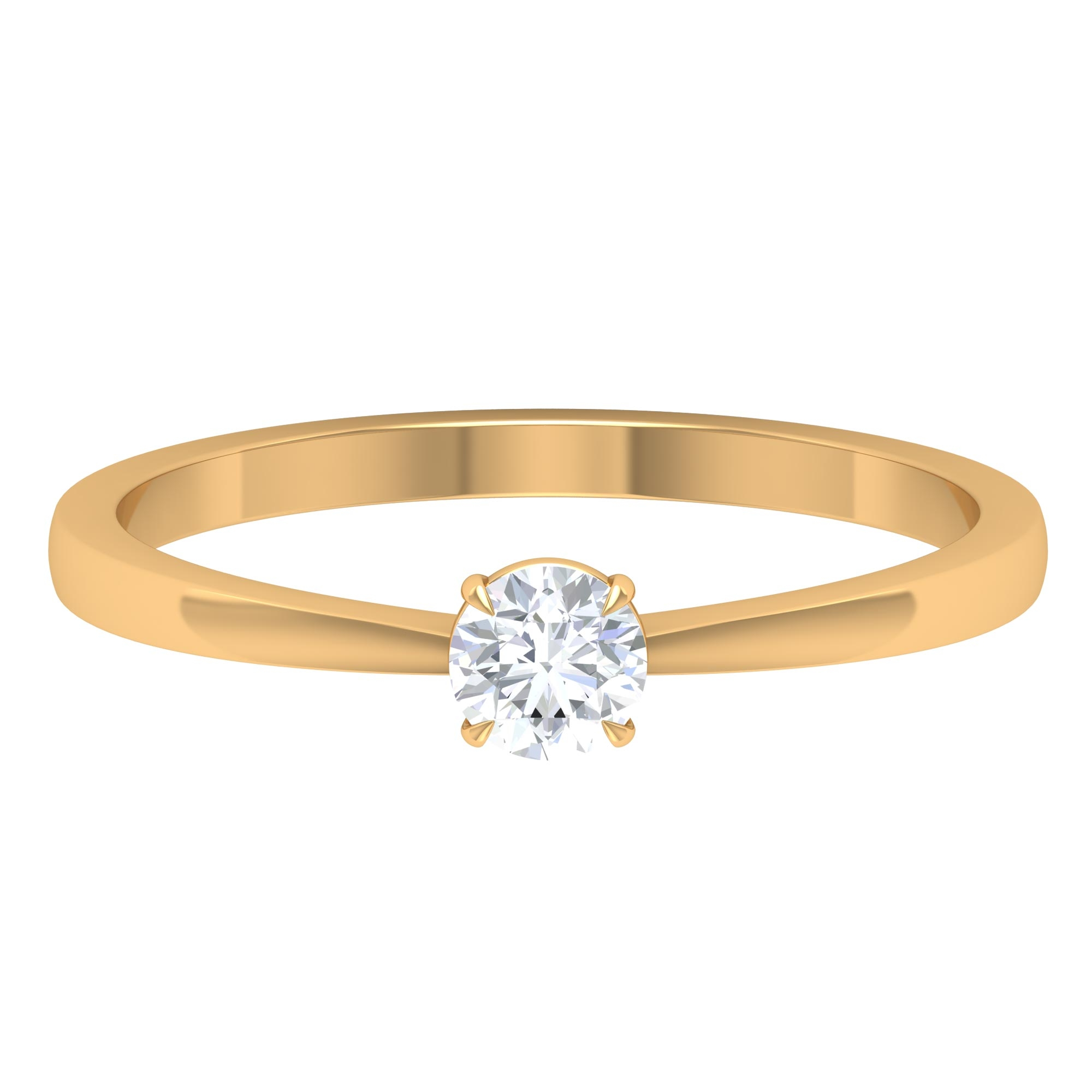 4 MM Round Cut Diamond Solitaire Ring in Claw Setting