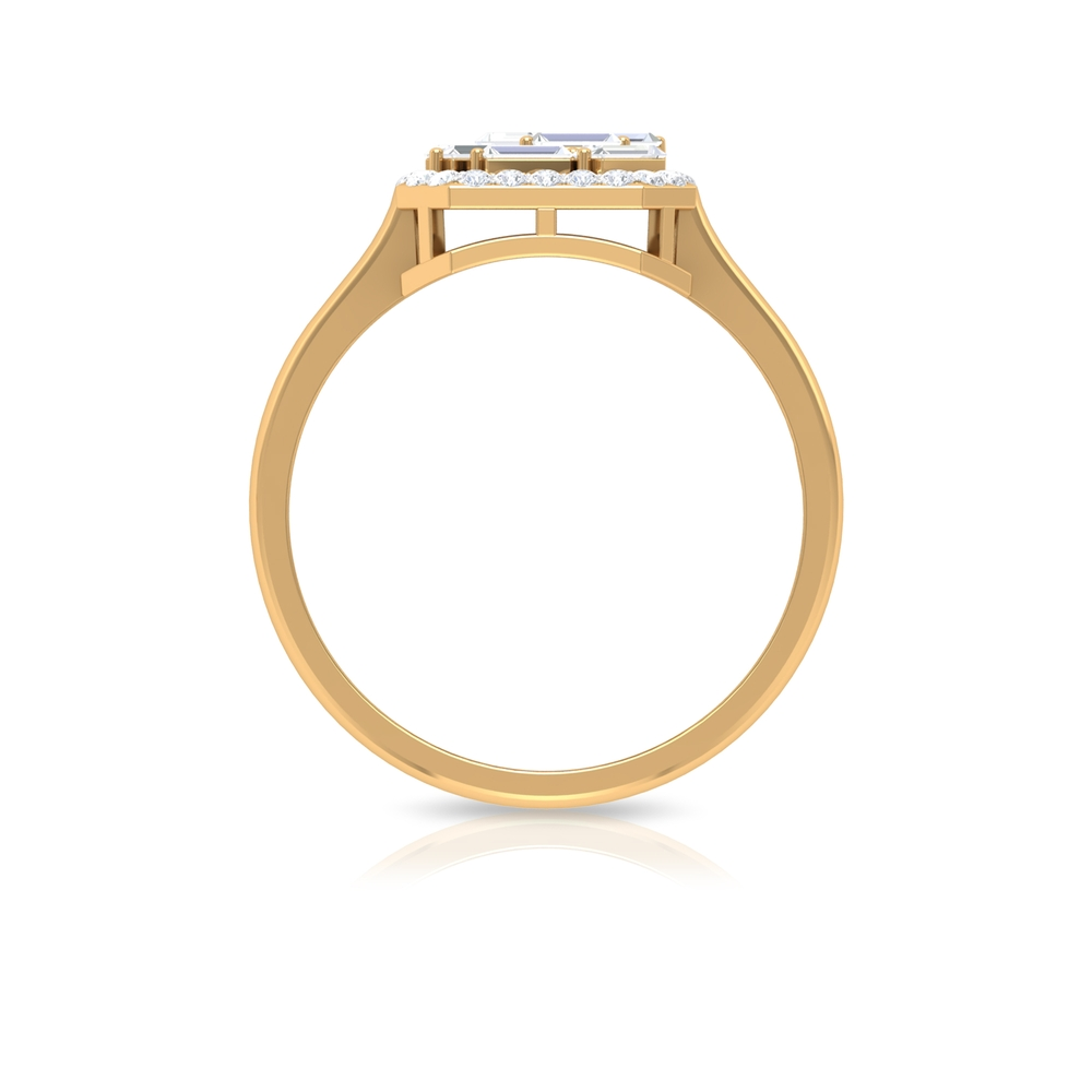 3/4 CT Baguette and Round Cut Diamond Vintage Inspired Engagement Ring
