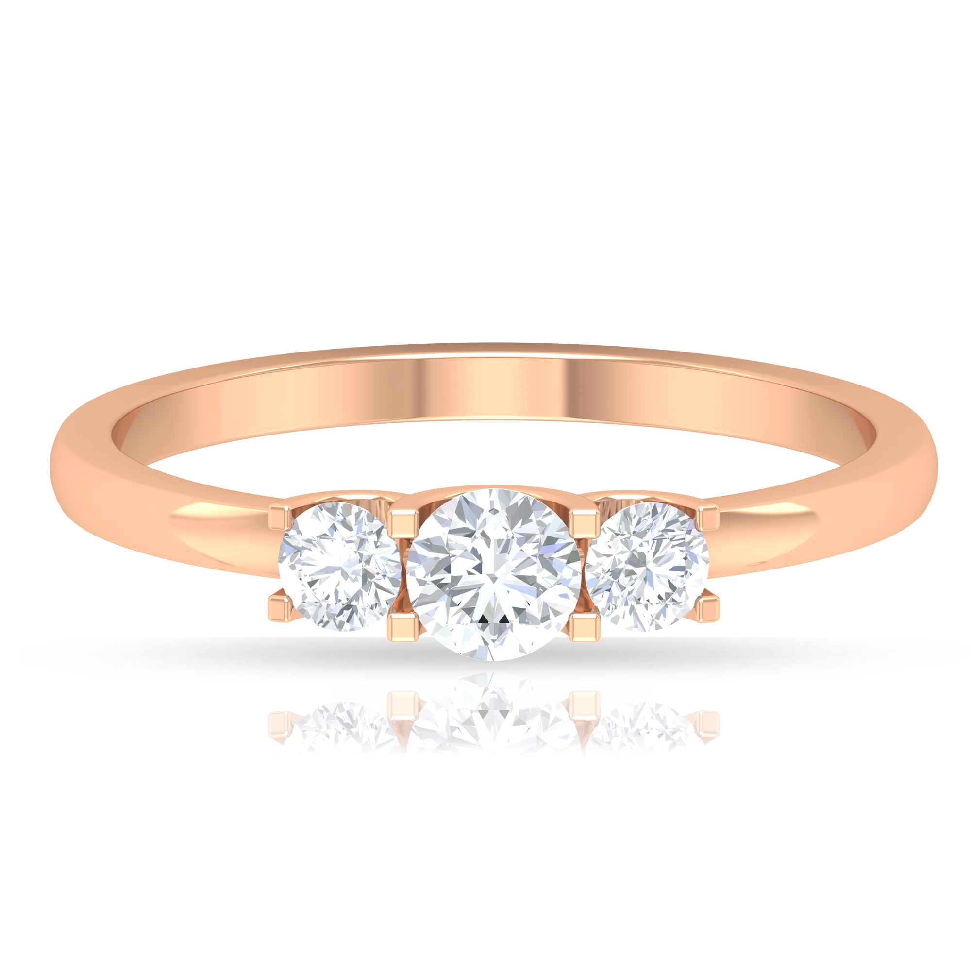 1/2 CT Diamond 3 Stone Ring in Square Prong Setting